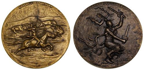 100063  |  UNITED STATES. Buffalo Hunt & Fire Dancer bronze Medal.
