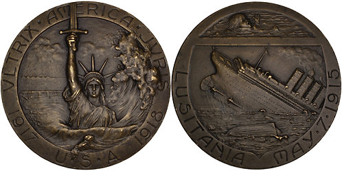 100352  |  UNITED STATES & FRANCE. RMS Lusitania bronze Medal.
