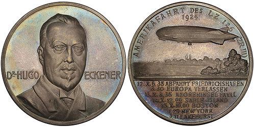 100610  |  GERMANY & UNITED STATES. Dr. Hugo Eckener silver Medal.