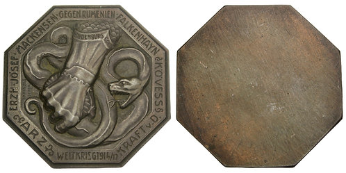 101388  |  AUSTRIA & GERMANY. Romanian Campaign octagonal uniface zinc Medal.