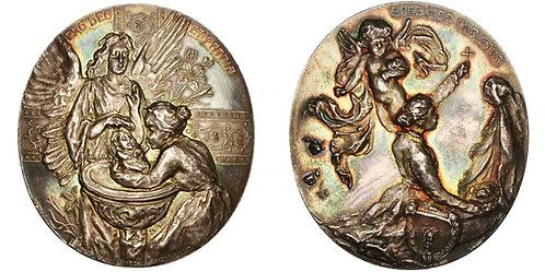 101372     AUSTRIA. Baptism oval silver Medal.