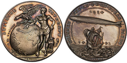 100599  |  UNITED STATES & GERMANY. Zeppelin/Columbus silver Medal.