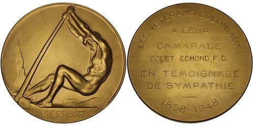 "100524  |  BELGIUM. Gilt bronze ""l'Effort"" Medal."