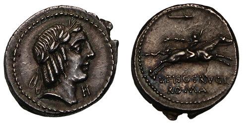 100090  |  ROMAN REPUBLIC. L. Piso Frugi silver Denarius.