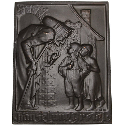 "101176  |  AUSTRIA. ""Hansel and Gretel"" uniface bronze Plaque."