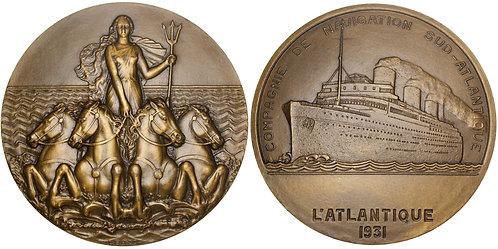 101506     FRANCE. Compagnie de Navigation Sud-Atlantique Art Deco bronze Medal.