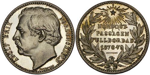 100403  |  SWEDEN. Baron Nils Adolf Erik Nordenskiöld silvered bronze Medal.