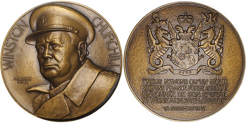 100900  |  GREAT BRITAIN & FRANCE. Sir Winston Churchill bronze Medal.