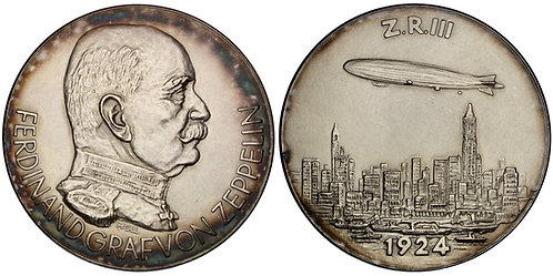 101390  |  UNITED STATES & GERMANY. Graf von Zeppelin/LZ 126 silver Medal.