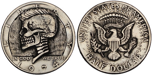 "101092  |  UNITED STATES. ""JFK Mohawk Skull"" engraved ""hobo nickel"" Half Dollar."