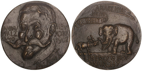 101074  |  UNITED STATES & GERMANY. Thomas Nast Prize cast bronze award Medal.