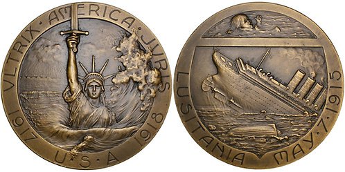 101669     UNITED STATES & FRANCE. Sinking of the Lusitania bronze Medal.