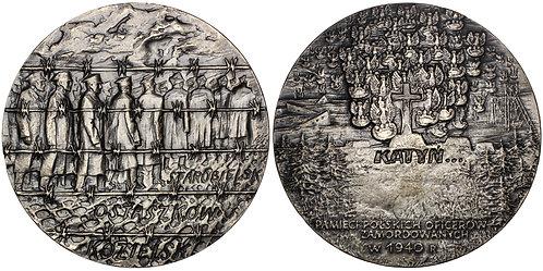 101399  |  POLAND & SOVIET UNION. Katyn Massacre silvered bronze Medal.