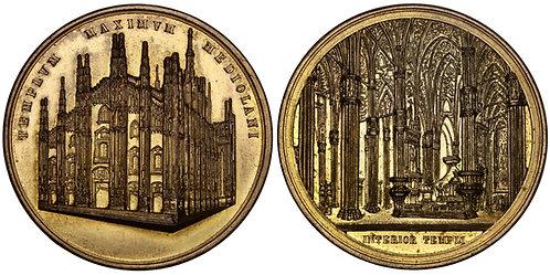 101540     ITALY. Duomo di Milano gilt bronze Medal.