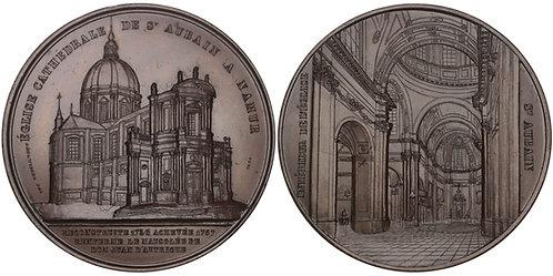 100775  |  BELGIUM. Cathédrale Saint-Aubain de Namur bronze Medal.