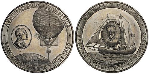 101072  |  SWEDEN & NORWAY. Andrée & Nansen white metal Medal.