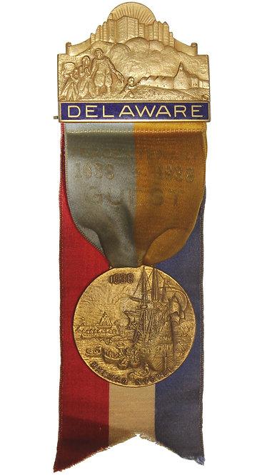 100496  |  UNITED STATES & SWEDEN. New Sweden/Delaware Founding bronze Badge.