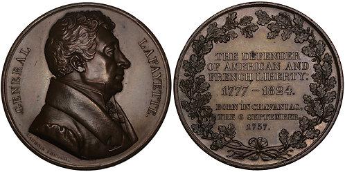 100407  |  UNITED STATES & FRANCE. Marquis de Lafayette bronze Medal.
