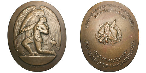 101419  |  GERMANY. Fallen Soldiers of World War I oval cast bronze Medal.