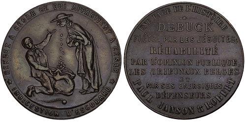 "100926  |  BELGIUM. ""L'affaire de Buck"" satirical bronze Medal."