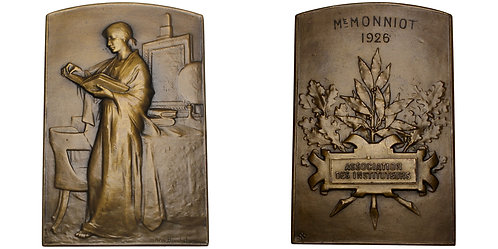 """101154     FRANCE. """"L'étudiante"""" Art Nouveau bronze award Plaque."""