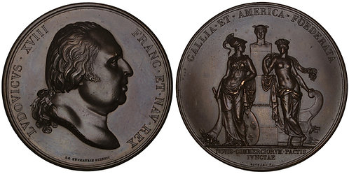 100741  |  UNITED STATES & FRANCE. Louis XVIII bronze Medal.