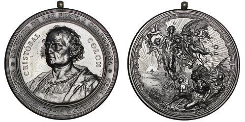 101657  |  UNITED STATES & URUGUAY. Christopher Columbus white metal Medal.