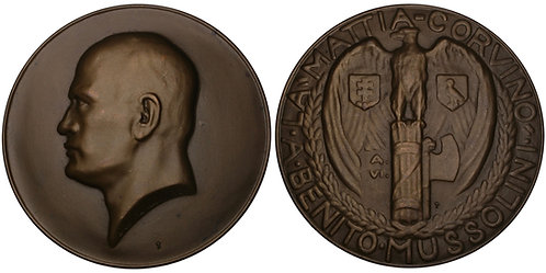 101127  |  ITALY & HUNGARY. Benito Mussolini bronze Medal.