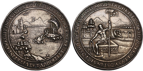 100557  |  HOLY ROMAN EMPIRE. Bohemia. Death & Resurrection cast silver Medal.