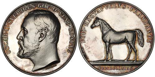 100405  |  SWEDEN. Oscar II silver horse breeding Award Medal.