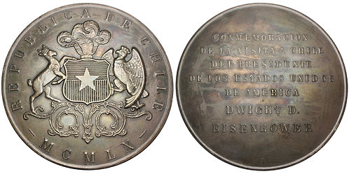 101558  |  UNITED STATES & CHILE. President Eisenhower in Chile silver Medal.