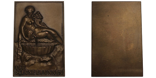 "100664  |  AUSTRIA. ""Schöner Brunnen"" uniface bronze Plaque"