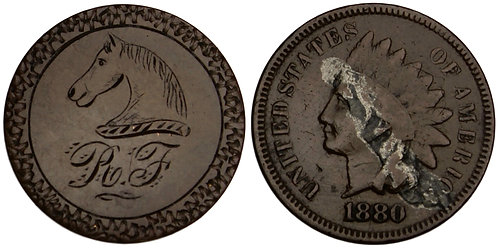 101341  |  UNITED STATES. R–F and horse head engraved copper Love Token.