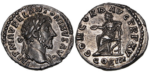 100124  |  ROMAN EMPIRE. Marcus Aurelius silver Denarius.