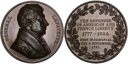 100260     UNITED STATES & FRANCE. Marquis de Lafayette bronze Medal.