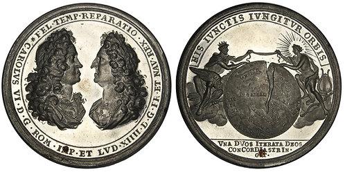 101215  |  HOLY ROMAN EMPIRE & FRANCE. Karl VI and Louis XIV tin Medal.