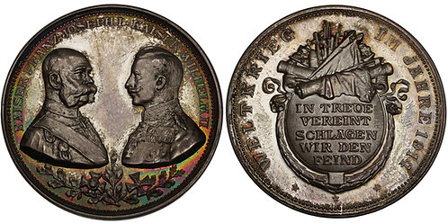 100570  |  GERMANY & AUSTRIA-HUNGARY. Wilhelm II & Franz Joseph silver Medal.