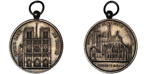 101081  |  FRANCE. Paris. Notre-Dame Cathedral silvered bronze Medal.