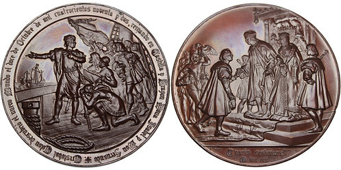 100419  |  UNITED STATES & SPAIN. Christopher Columbus bronze Medal.