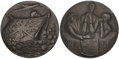100793  |   GERMANY & GREAT BRITAIN. HMS Royal Ark satirical cast iron Medal.