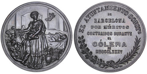 101576  |  SPAIN. Barcelona. Cholera Epidemic bronze Award Medal.