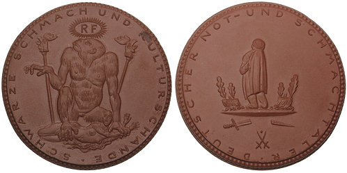 """100879     GERMANY & FRANCE. """"Black Shame"""" porcelain Medal."""