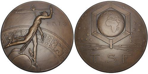 101128     FRANCE. Télégraphie sans Fil [Radio] Art Deco bronze Medal.
