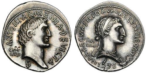 """101638     ANCIENT INSPIRED. Marcus Antonius & Cleopatra silver """"Denarius."""""""