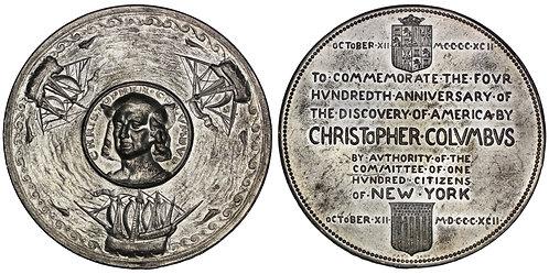 101658  |  UNITED STATES. Christopher Columbus white metal Medal.