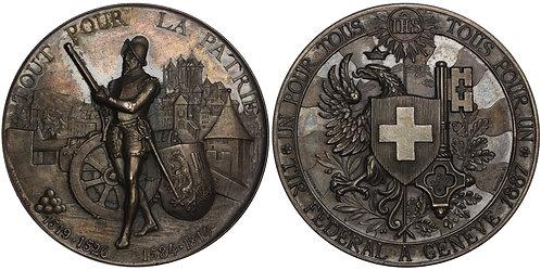100660     SWITZERLAND. Geneva. Silver Schützenmedaille (Shooting Medal).