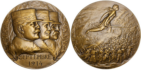 101302  |  FRANCE. Generals Joffre, Maunoury & Gallieni/Marne bronze Medal.