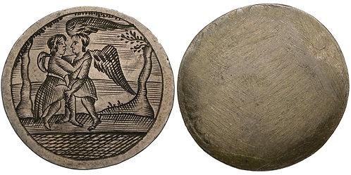 100817  |  NETHERLANDS. Dutch Republic. Angelic Embrace silver Love Token.