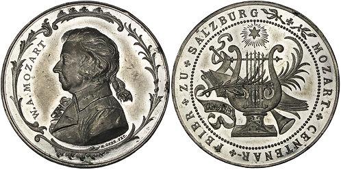 100283  |  AUSTRIA. Wolfgang Amadeus Mozart white metal Medal.