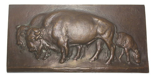 101067  |  UNITED STATES & GERMANY. American Bison uniface cast bronze Plaque.